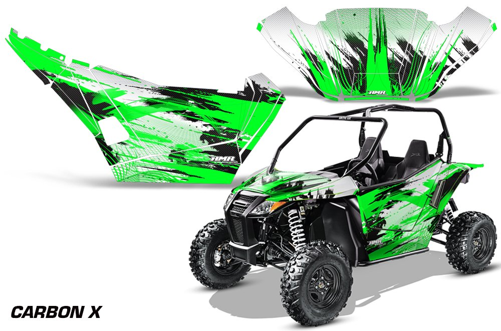 AMRRACING Arctic Cat Wildcat Sport Limited Full Custom UTV Graphics Decal Kit Carbon X Green