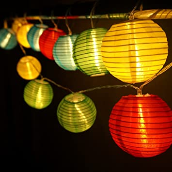 hqoon globe string lights with mini nylon lantern led fairy decorative lights 3 aa - Battery Operated Lanterns
