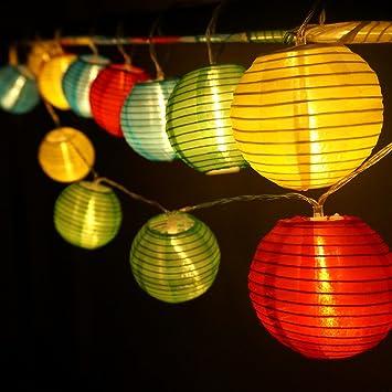 hqoon globe string lights with mini nylon lantern led fairy decorative lights 3 aa