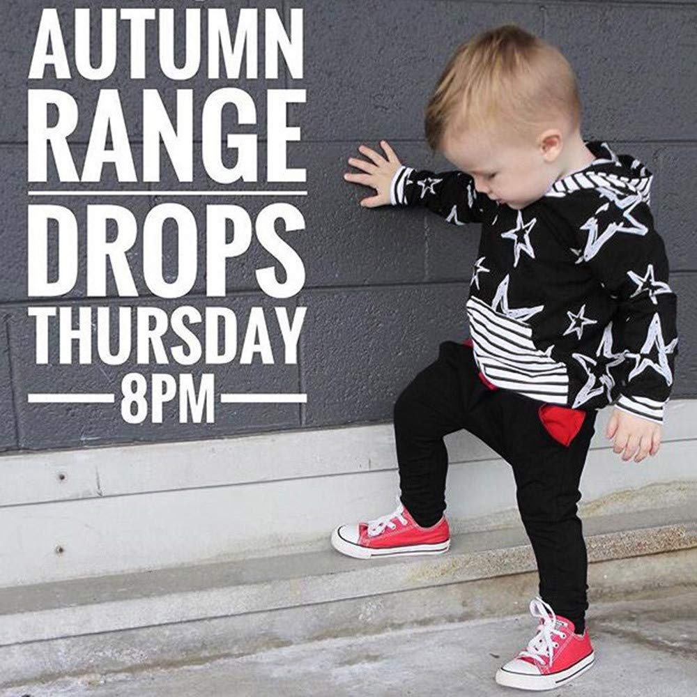 Lucoo Winter Outfits Set,Newborn Baby Boy Long Sleeve Sweatshirt Star Hoode Top+Print Pants Cloth Sets