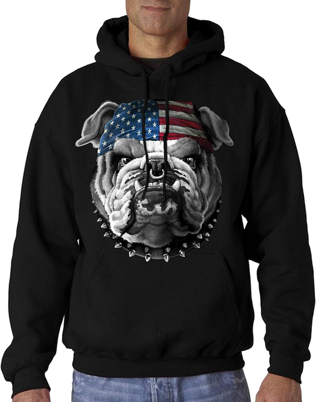 Velocitee Mens Hoodie USA American Bulldog Biker A19408