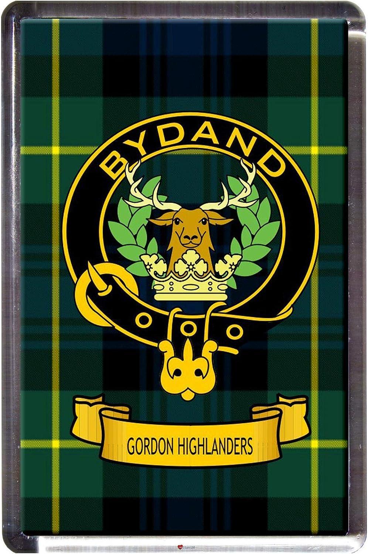 Gordon Highlanders Tartan Fridge MagnetScottish Clan Crest Clear Acrylic Base