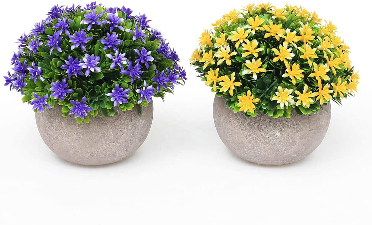 UltraOutlet 2 Packs Small Artificial Plants in Pot Mini Faked Potted Plants Decorative Faux Plants Centerpiece Topiary Shrubs for Office, Bathroom, Home Decoration, Purple and Yellow