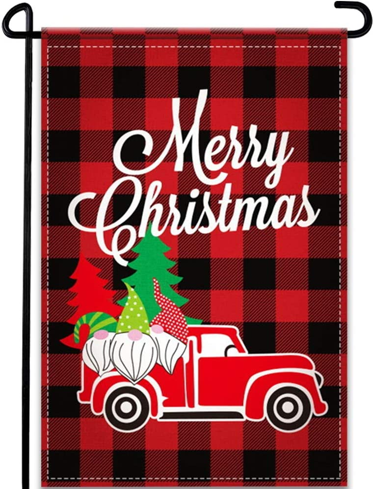 DUDOU Merry Christmas Gnomes Garden Flag Red Buffalo Check Plaid Xmas Truck Tree Home Outside Decoration Winter Holiday Sign 12 x 18 Inches