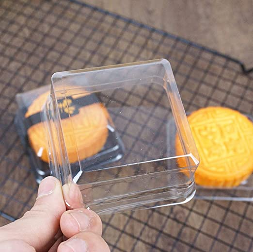 Amazon.com: Hewnda 50 Pieces of Transparent Plastic Mini Cake Box Muffins Box Cookies Cookies Muffins Dome Box Wedding Birthday Gift Box (3