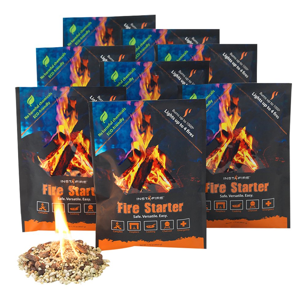 InstaFire Granulated Fire Starter, All Natural, Eco-Friendly, Lights Fires in Any Weather - 4 Fires Per Pouch, Awarded 2017 Fire Starter Of The Year
