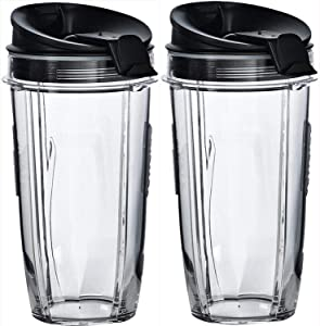 BeenTool 24 oz Cup with Sip & Seal Lid Replacement Compatible with Nutri Ninja 24 oz Cups for Blender Bl450 BL454 Auto-iQ BL480 BL481 (2-Pack)