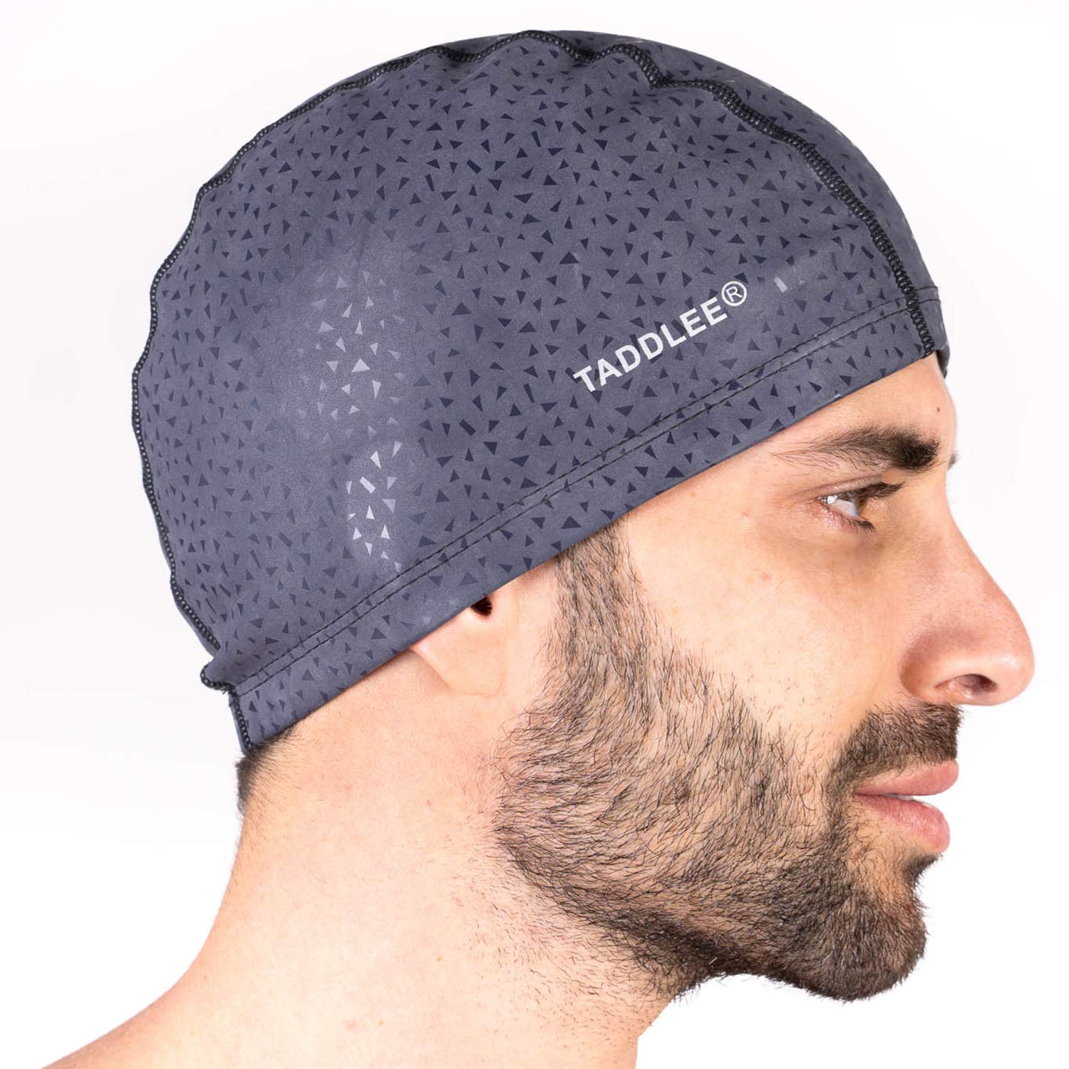 Taddlee Men Swim Cap PU Fabric Silicone Lycra Swimming Hat Pool Waterproof Sports Adult Swim Wear Accessories Large Size Outdoor