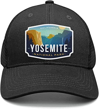 Yosemite National Park Baseball Hats Mens Womens Adjustable Mesh Flat Brim Flat Caps