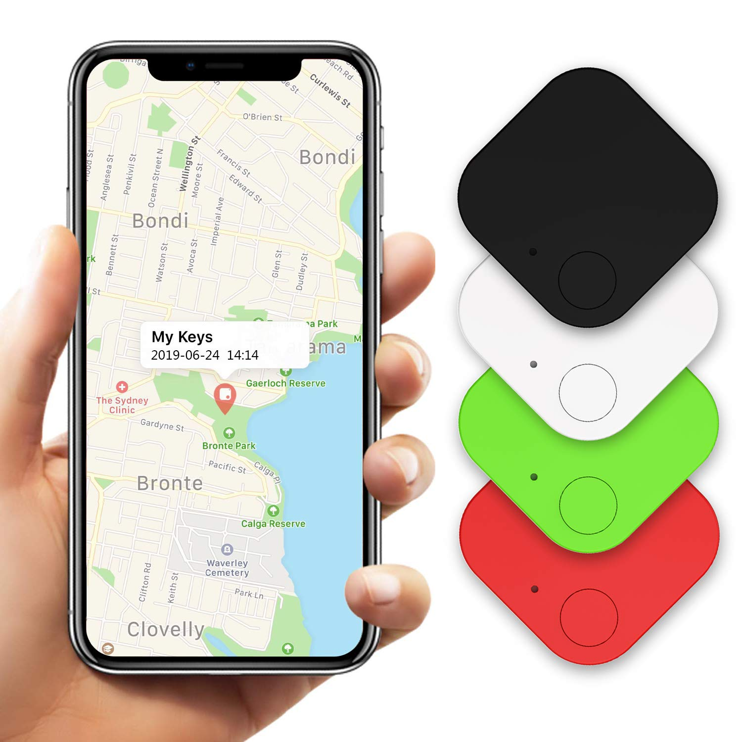 Key Finder (Gen II 4 Pack), Item Finder, Phone Finder, Bluetooth Tracker Smart Tag by Kimfly