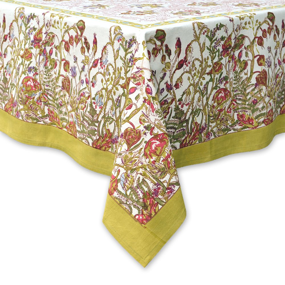 Couleur Nature 71-inches by 128-inches Fleur Tablecloth, Petit, Green