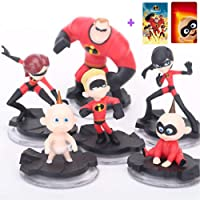 "Incredibles 2 Action Figures / Mr. Incredible Toy Playset 6 Pcs 2 - 4"" Tall / Birthday Decorations Cake Toppers / + 2 Bonus Stickers Card"