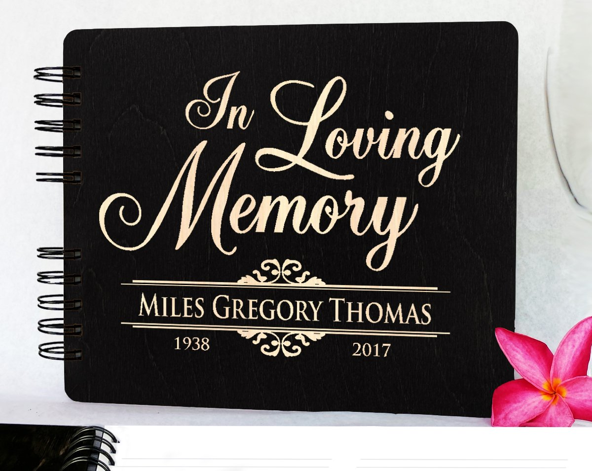 in Loving Memory Funeral Guestbook 8.5x7 Memorial Sign in Guest Book Rustic Engraved Book of Condolence Wooden Stain Remembrance Registry