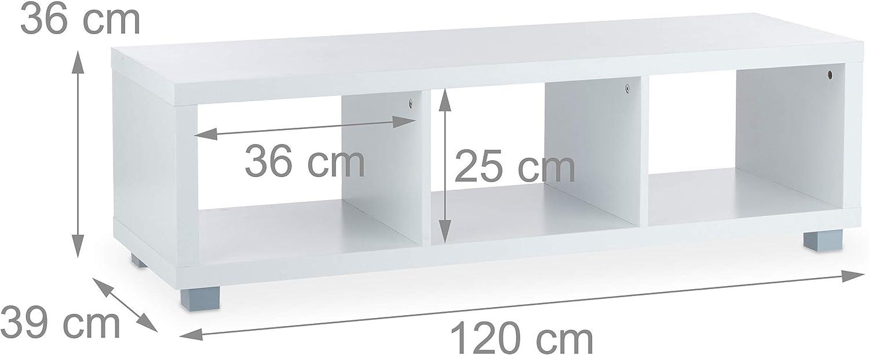 plastica HxLxP:36x120x39 cm Carta 3 Scomparti Portaoggetti Truciolato Relaxdays Mobile Basso da Salotto Bianco Mobiletto Porta TV 36 x 120 x 39 cm