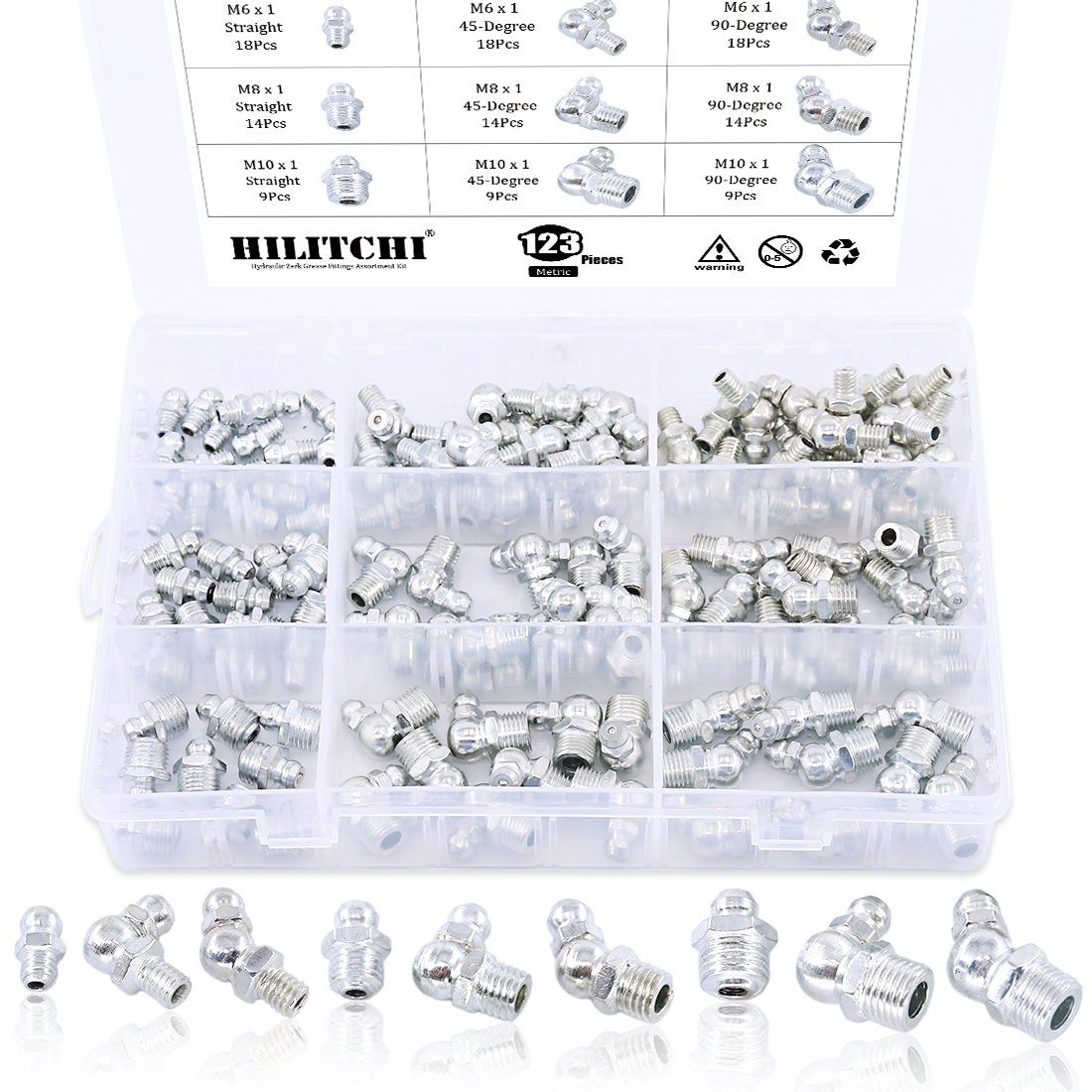 Hilitchi 123Pcs Metric Hydraulic Zerk Grease Fittings Assortment Kit (Metric)