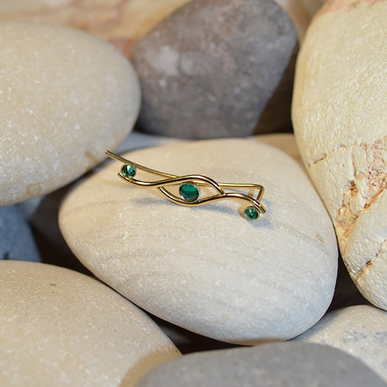 Emerald EAR CLIMBER Earring//Gold Ear Cuff - Pin Earrings - Ear Wrap - Bar Studs - Earcuff - Post Stud Earrings