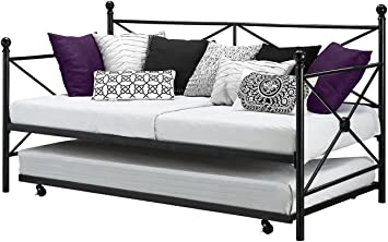 Amazon Com Fastfurnish Twin Size Modern Black Metal Daybed With