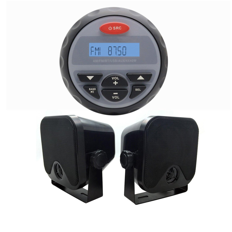 Marine Radio MP3 USB Bluetooth 2 Way Stereo+2pcs 4'' black speakers for UTV ATV Boat