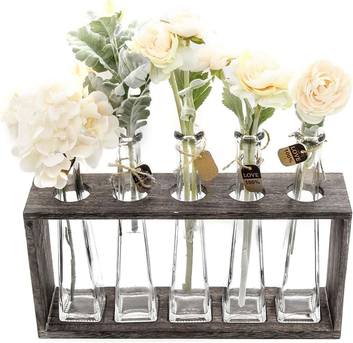Vases Funsoba Small Glass Vases In Wood Rack Stand Window Sill Display Set Of 3 Crystal Clear Flower Vase Farmhouse Home Decoration White 3 Vase Home Kitchen