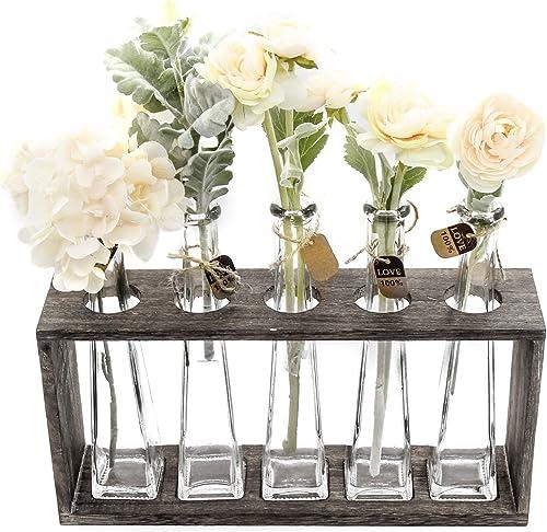 FUNSOBA Rustic Vintage Hydroponic Flower Vases Set in Wooden Rack 5 Bottles Type A 5 Vase Set