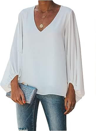 Botanmu Tamaño Extra Suelto de Mujer Camiseta de Manga Larga de Gasa Blusa de Manga Larga Blusas de Gasa Camiseta 4 Colores (Blanco): Amazon.es: Ropa y accesorios
