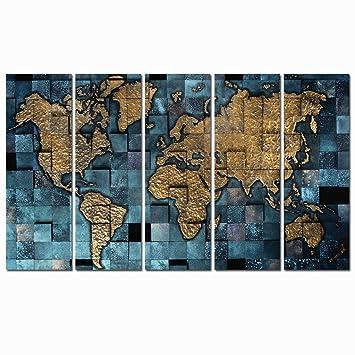 Amazon 5 panel world map canvas printing modern pop poster 5 panel world map canvas printingmodern pop poster print on canvasstretched canvas gumiabroncs Choice Image