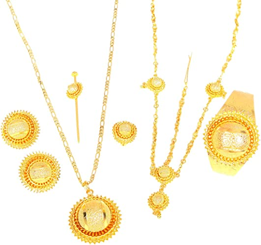 Ethiopian Jewelry set 22k Gold Plated New African Jewellry Ethiopia Wedding Bride Habesha Sets