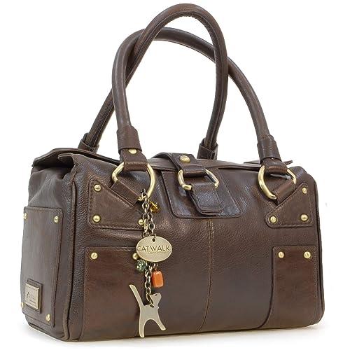 8283b876056 CATWALK COLLECTION - CLAUDIA - Bolso de mano - Cuero - Marrón: Amazon.es:  Zapatos y complementos