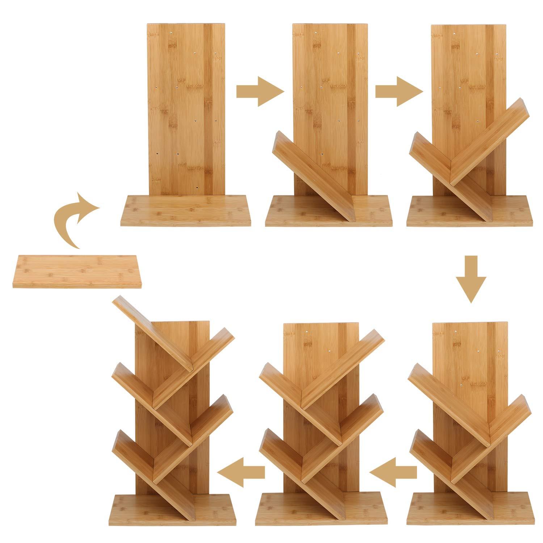 Book Storage Organizer Shelves Display Storage Rack for Home Office Free-Standing Holder Organizer Bamboo Wood Bookcase Rack 4-Tier Book Rack Books//CDs//Albums//Files Holder Tree Bookshelf