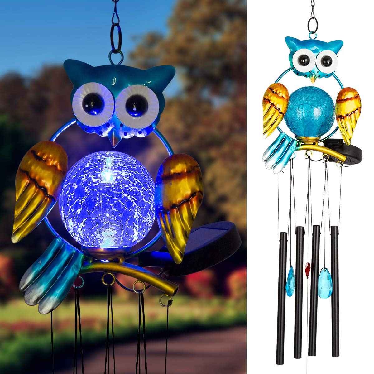 Solpex Solar Owl Wind Chimes Outdoor,36.6'' LED Light Chime with 4 Hollow Aluminium Tubes for Home,Patio, Lawn and Yard Décor.