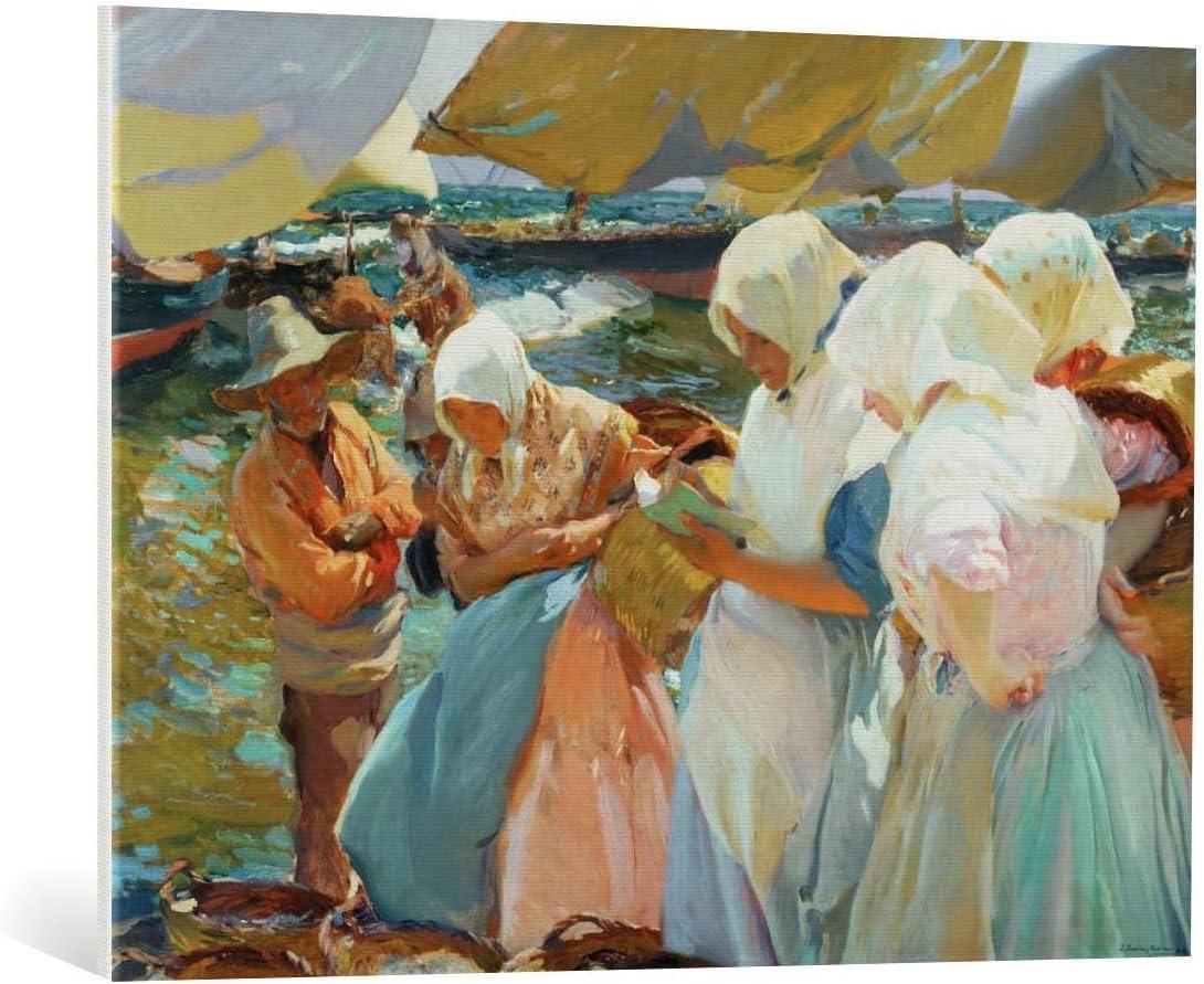 Kunst für Alle Cuadro en Lienzo: Joaquin Sorolla y Bastida Valencianas en la Playa - Women from Val - Impresión artística, Lienzo en Bastidor, 100x75 cm