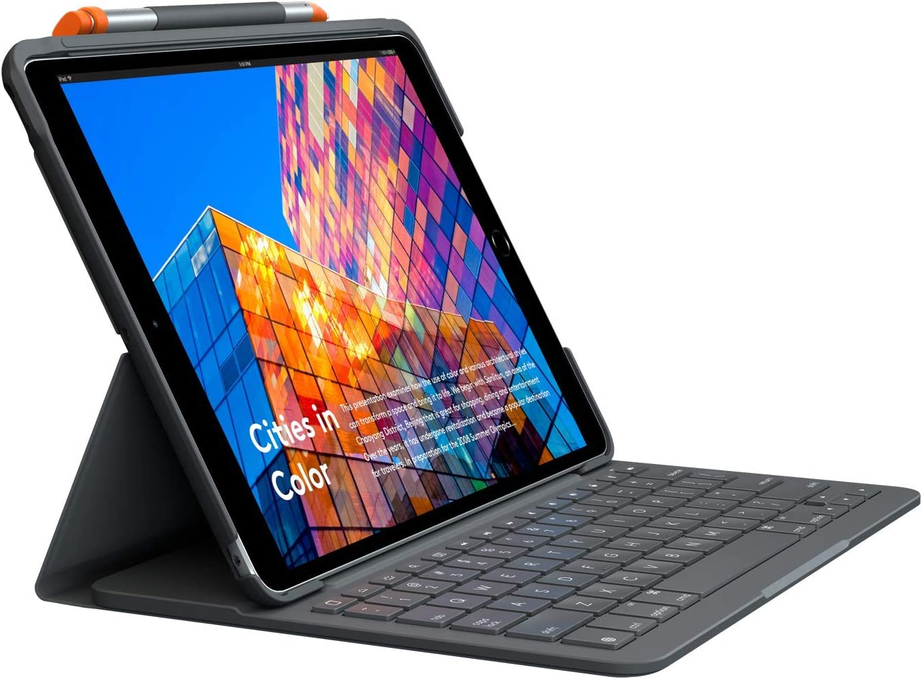 Logitech iPad (7th Generation) Keyboard Case | Slim Folio with Integrated Wireless Keyboard (Graphite)