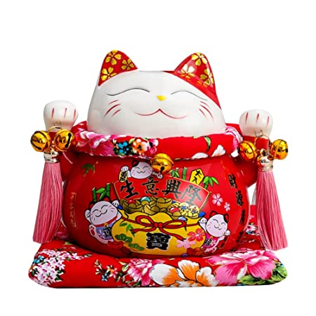 Tgfer New 7 Large Ceramic Maneki Neko Lucky Cat Coin Bank Style Fubao