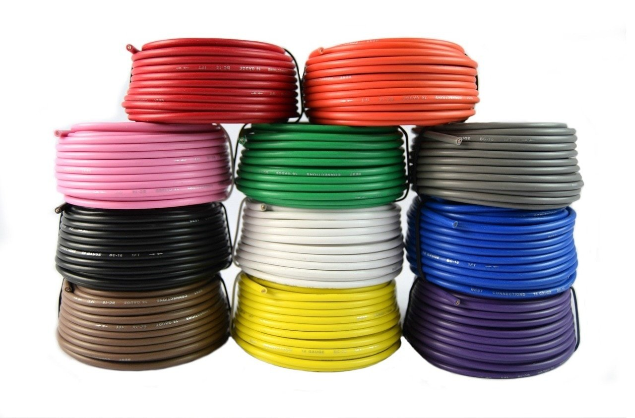 16 Gauge Single Conductor Stranded Remote Primary Wire 11 Rolls 12 Volt 25 Feet Each