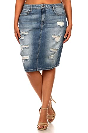 CLO Sexy WOMENS Plus Size Skirt Stretch Distressed Ripped BLUE ...