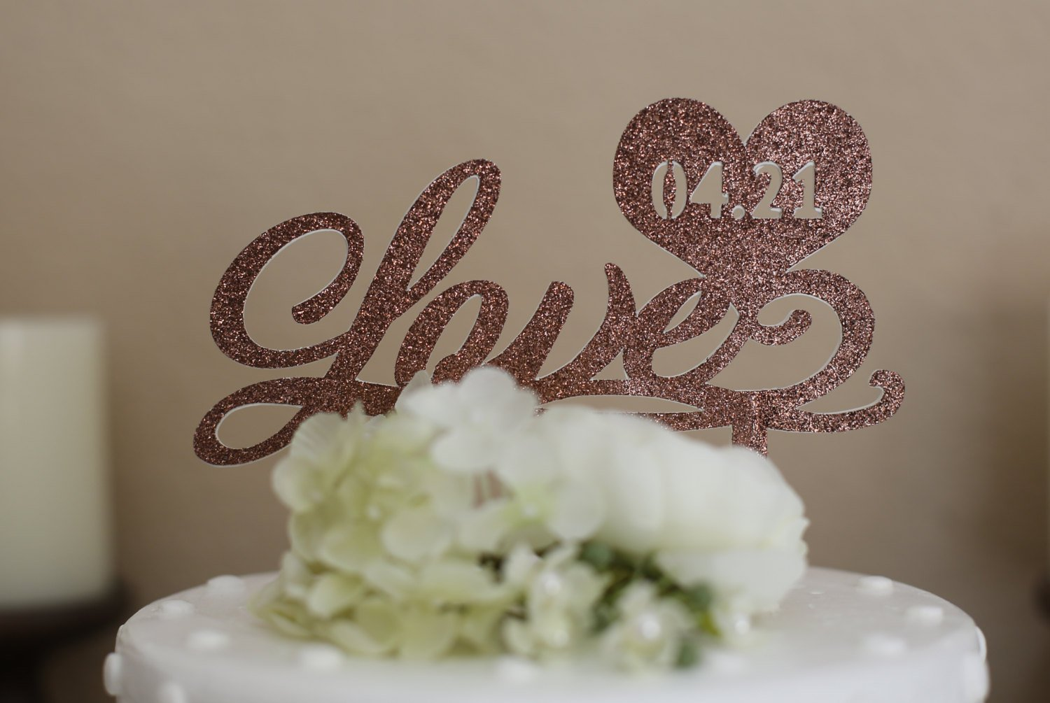 LOVE Cake topper Personalized Cake topper Glitter cake topper,Gold cake toppers Customized Cake Toppers Brown Glitter Cake Toppers