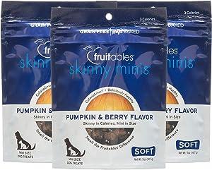 Fruitables Skinny Minis Gluten Free Chewy Dog Treats Pumpkin & Berry Flavor (3 Pack) 5 oz Each