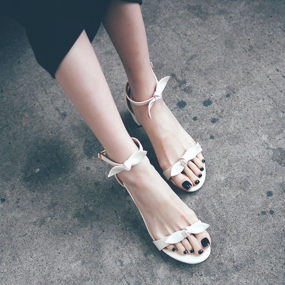 - DHG Bow Femmes 'S Chaussures Rohomme épais avec Un Mot avec des Chaussures de Fées,Une,37