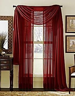 LuxuryDiscounts 2 Piece Solid Burgundy Elegant Sheer Curtains Fully Stitched Panels Window Treatment Drape 54