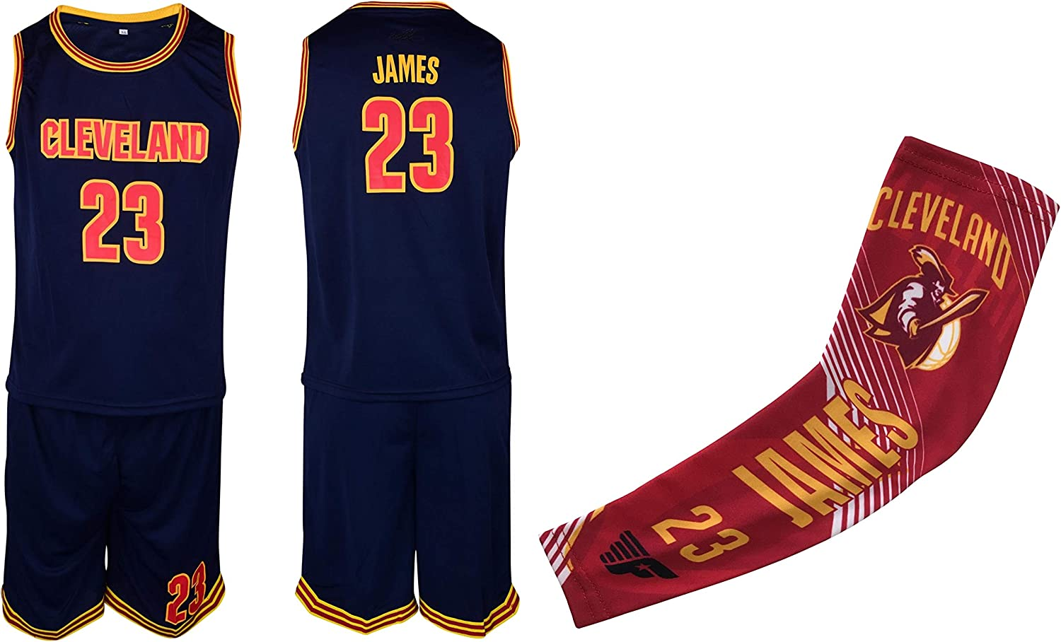 James #23 Kids Basketball Jersey Shorts Set Youth Sizes Premium Quality Gift Set with Arm Sleeve