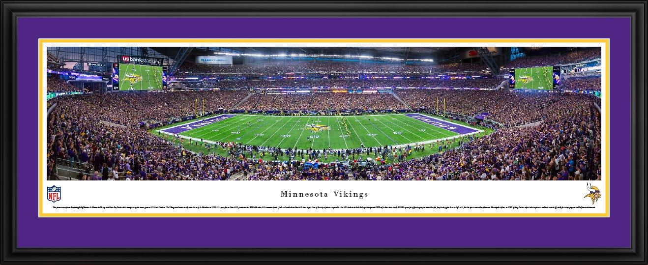 MN Vikings - 1st Game at US Bank Stadium - Blakeway Panoramas NFL Posters with Deluxe Frame by Blakeway Worldwide Panoramas, Inc.