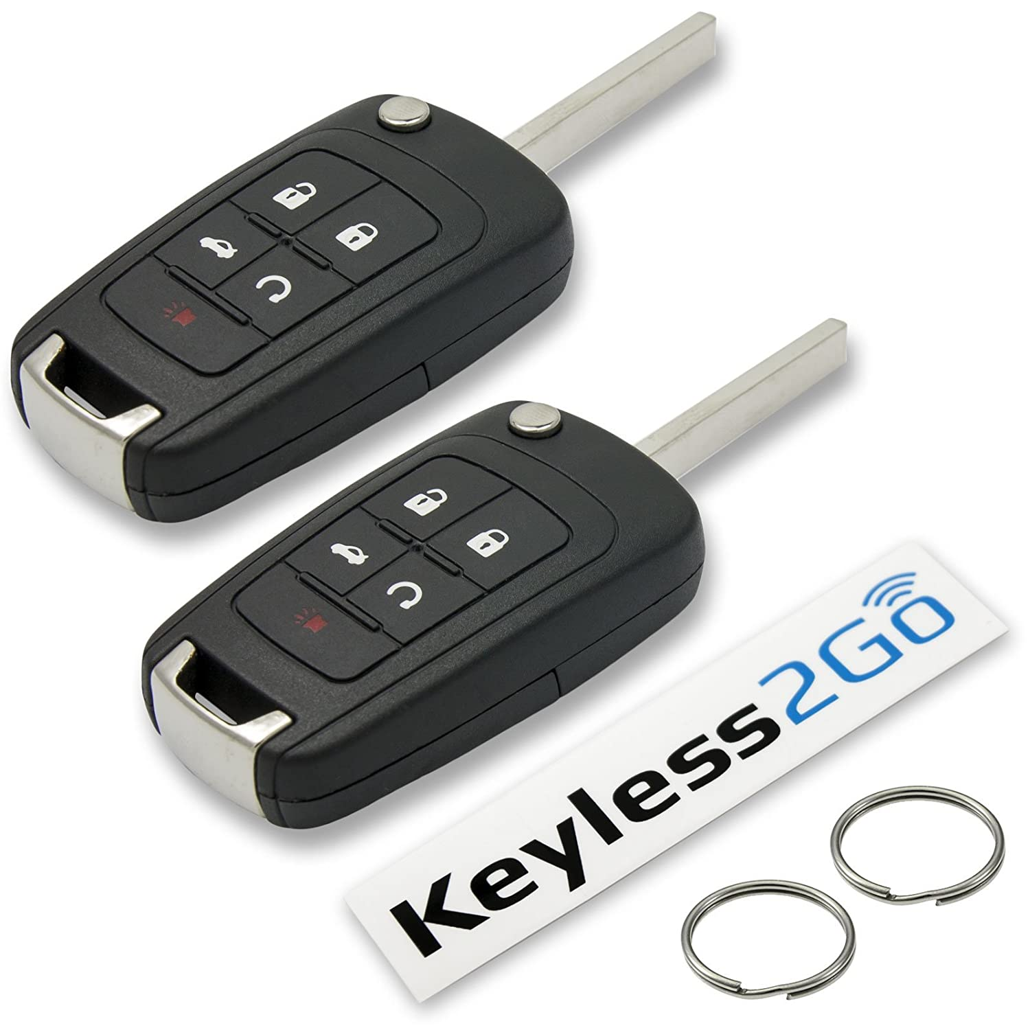 Keyless2Go New Keyless Remote 5 Button Flip Car Key Fob for Vehicles That Use FCC OHT01060512 2 Pack