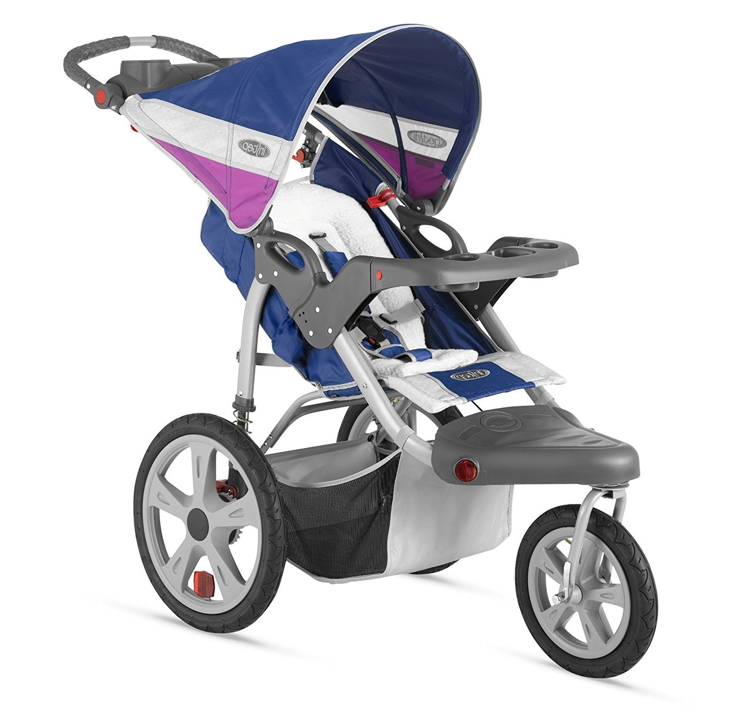 Premium Baby Stroller Jogger With Pneumatic Air Tires , Large Canopy and Storage Basket For Infants, Toddlers And Kids, Blue-Grape Color