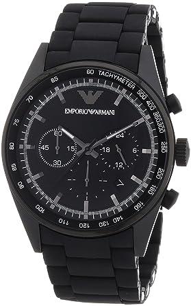 Emporio Armani AR5981 - Reloj cronógrafo de Cuarzo para Hombre, Correa de Acero Inoxidable Color Negro: Amazon.es: Relojes