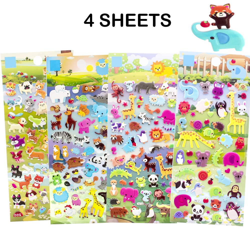 Girls Scrapbooking Supplies Dinasour Zoo NEXT2U 3D Puffy Stickers Activity Books Set for Toddler Marine 4 Sheets Boys Vehicle Zoo