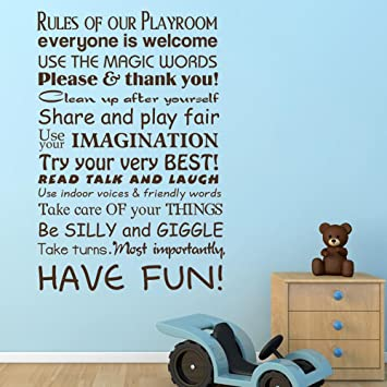 MairGwall Playroom Sign Rules Of Our Playroom Have Fun... Lettering Wall  Decal For Part 49