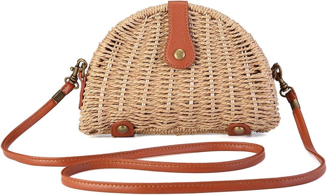 Bolso de Paja Crossbody, JOSEKO Bolso de Paja para Mujer Bolso Mimbre Bolsa de Hombro para Playa Viajar y Uso Diario