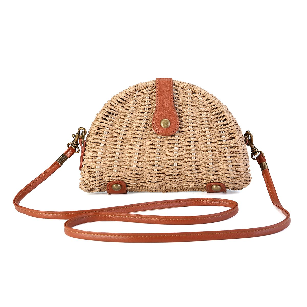 Crossbody Straw Bag, JOSEKO Womens Straw Handbag Shoulder Bag for Beach Travel and Everyday Use Light Brown 8.07