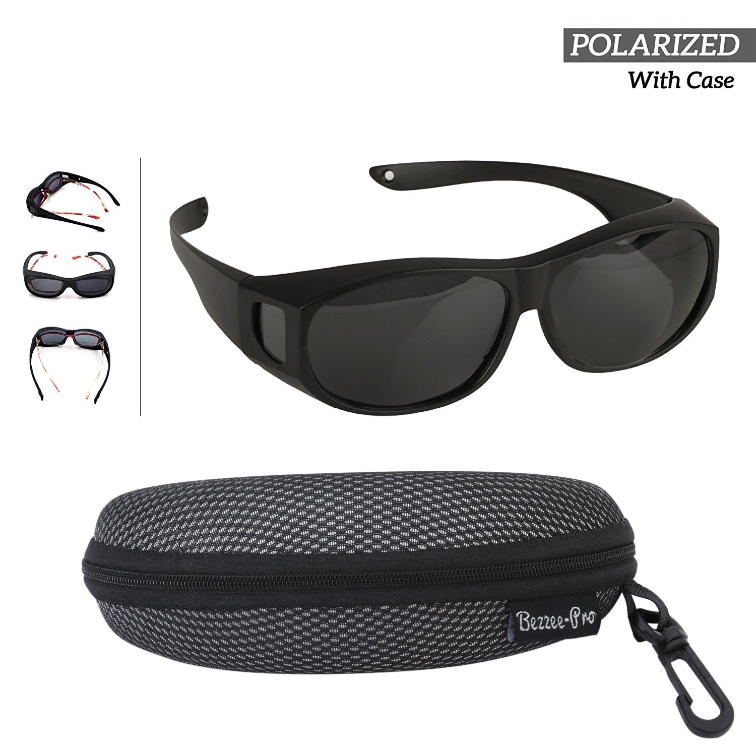 Fit Over Polarized Sunglasses For Men Women - Wear Over your Regular Glasses  and Prescription Glasses - Reduces Glare Lightweight   Comfortable - Black  Matt 74a94c5c4a