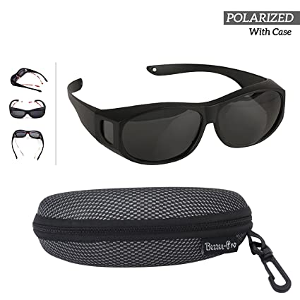 87bcc0e064e Fit Over Polarized Sunglasses For Men Women - Wear Over your Regular Glasses  and Prescription Glasses